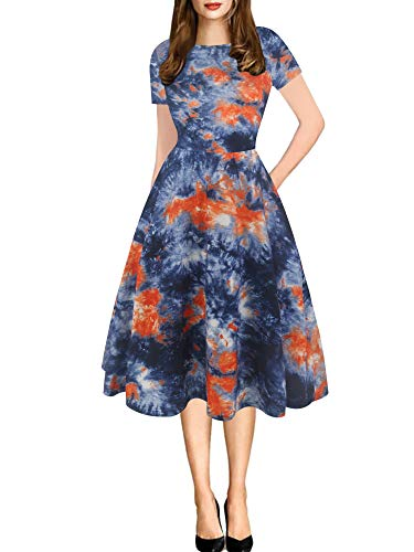 oxiuly Women's Vintage Round Neck Floral Casual Pockets Tunic Party Cocktail Cotton Blend A-Line Summer Dress OX262 (M, Mu-Blue)]()