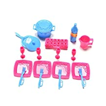 ASIV 18pcs Furniture Kitchen Accessories Set for Barbie Dolls, Kitchen Utensil Tableware and Pans Dishes Cutlery