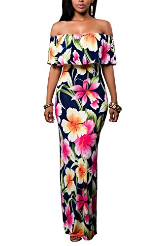 Suimiki Women's Off-the-Shoulder Floral Short-Sleeve Long Maxi Dress, Navy, XX-Large