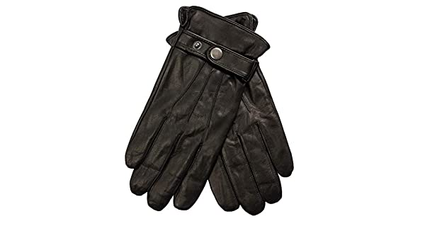 EEM Mens Leather Gloves JOSH-IP with touch function button closure lambskin nappa leather