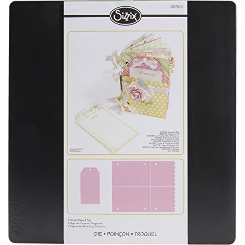 Sizzix 657162 Bigz Pro Die Pocket Page & Tag by Lynda Kanase, Multicolor -