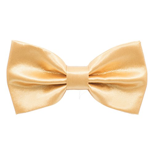 Satin Classic Pre-Tied Bow Tie Formal Solid Tuxedo, by Bow Tie House (Large, Gold)