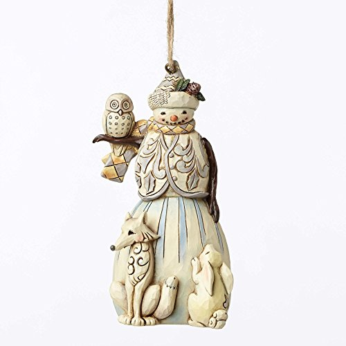Heartwood Creek Hanging - Enesco Jim Shore Heartwood Creek White Woodland Snowman Stone Resin Hanging Ornament, 4.6""