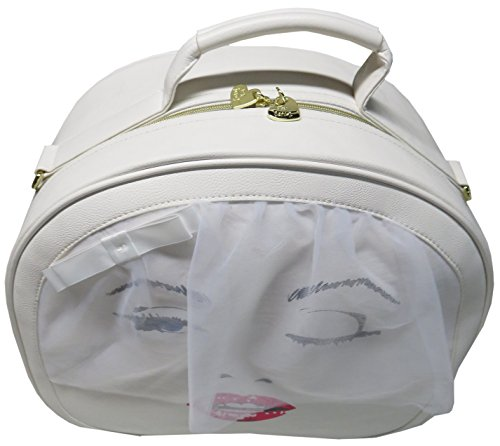 Cheap Betsey Johnson Kiss The Bride Train Carry-On Round Weekender Suitcase – Cream