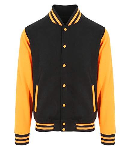(Awdis Hoods Varsity Letterman Jacket (Medium, Jet Black/Orange Crush))