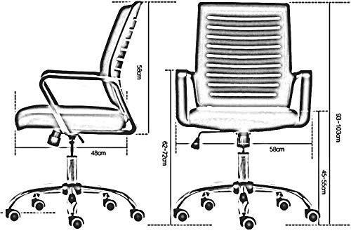 DBL Justerbar höjd armstöd ländrygg stöd datorskrivbord främjar modern ergonomisk stol utseende konferensnät skrivbordsstolar (färg: Orange, storlek: Svart ram)