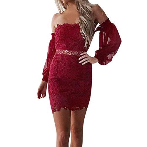 Goosuny Damen Abendkleid Kurz Spitze Bandeau Kleid Cocktailkleid Langarm Enge Wickelkleid Sexy Minikleid Partykleid Kleidung Schöne Club Abschlussballkleider Ballkleider
