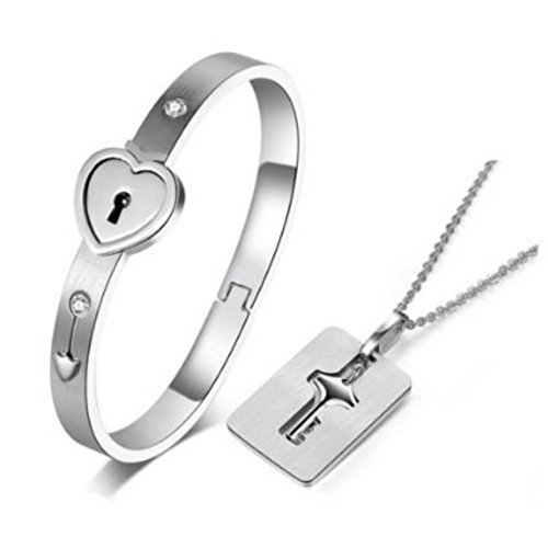 Carffany Heart Lock Love Bracelet Bangle Key Necklace Lover Jewelry Set For Couple Men Women (Bracelet Lover Heart)