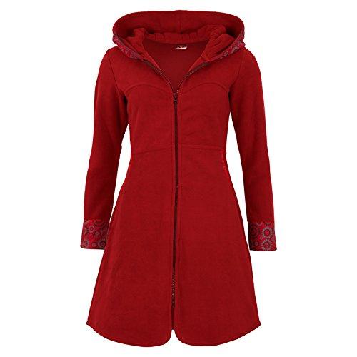 Rouge manteau Veste avec polaire capuche boho en Rouge hippie goa psy original OSSw1Aq