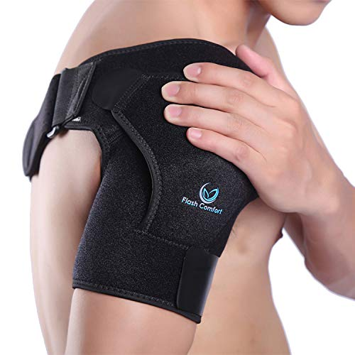 Shoulder Support Stability Brace - Flexible & Adjustable Straps - Lightweight, Breathable, Anti-Sweat Material- Gives Support and Compression for Dislocated AC Joint, Arm Pain, Ect. One Size Fits Most