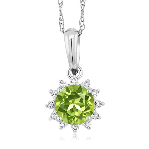 18K White Gold 0.50 Ct Round Green Peridot Diamond Pendant With Chain by Gem Stone King