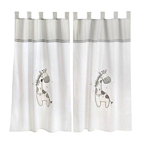 Gray Giraffe Crib Bedding Accessory - Window Curtain by Blancho