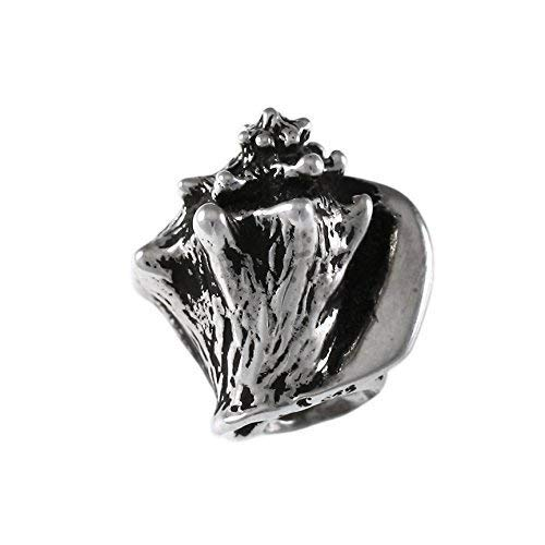 Detailed Queen Conch Shell Charm Bead - 925 Sterling Silver - Fits DIY Add-A-Bead Bracelets like Pandora - Great Vacation Souvenir and Gift Idea
