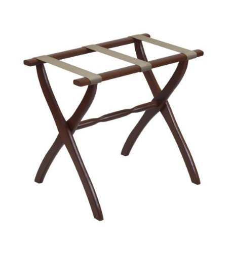Gate House Furniture Contour Leg Series Nylon Wood Luggage Rack, Dark (Scheibe Luggage)