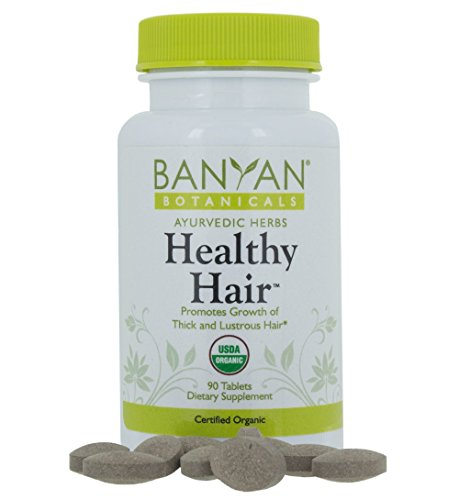 Banyan Botanicals Healthy Hair – Certified Organic, 90 Tablets – Promotes Growth of Thick and Lustrous Hair