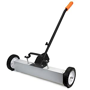 "XtremepowerUS 36"" Heavy Duty Magnetic Sweeper With Wheels for Concrete, Carpet or Grass - Quick-Release - Adjustable Sweep Height"