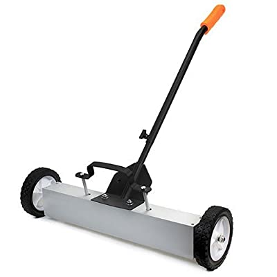 """XtremepowerUS 36"""" Heavy Duty Magnetic Sweeper With Wheels for Concrete, Carpet or Grass - Quick-Release - Adjustable Sweep Height"""