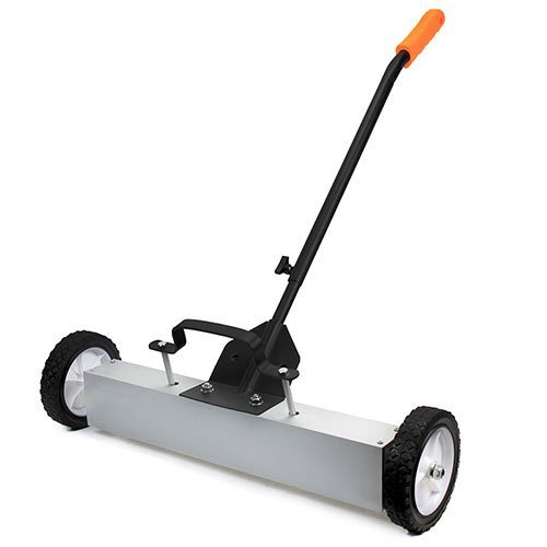 XtremepowerUS 24'' Heavy Duty Magnetic Sweeper With Wheels for Concrete, Carpet or Grass - Quick-Release - Adjustable Sweep Height