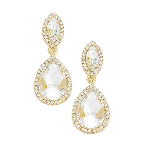 Rosemarie Collections Womens Rhinestone Halo Crystal Teardrop Statement Drop Earrings  Gold Tone Clear Crystal