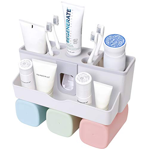 Toothbrush Holder Freestanding - AICase Toothbrush Holder, Toothbrush Holder with Automatic Toothpaste Dispenser,Detachable for Cleaning,Free-Standing Installation with Water Drainer (Self Adhesive 3 Cups)