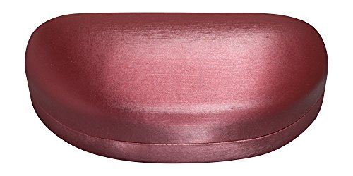Large Sunglasses Case For Men & Women, Hard Shell Eyeglass Case In Striated Red Satin