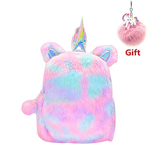 Cute Plush Unicorn Backpack, Soft Rainbow Book Bag Sweet Girls Daughter Gifts