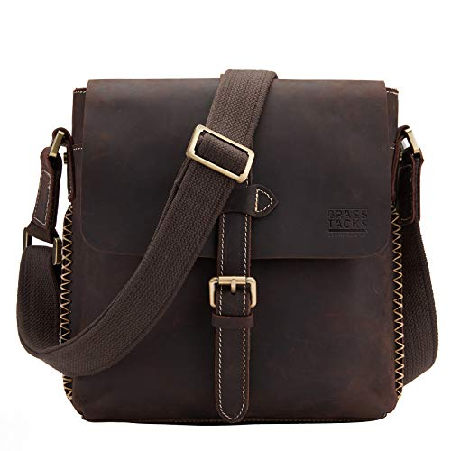 BRASS TACKS Leathercraft Genuine Leather Shoulder Crossbody Messenger Bag Purse for Men and Women(Dark Brown)