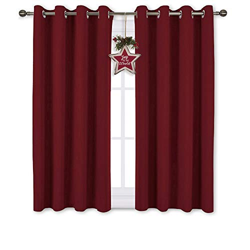 NICETOWN Burgundy Red Blackout Curtains Grommet - Thermal Insulated Solid Grommet Blackout Curtains/Panels/Drapes for Christmas & Thanksgiving Decor (2-Pack, 52 by 45-Inch)