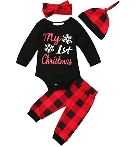 Newborn Baby Boys Girls Long Sleeve Bodysuit and Plaid Pants Leggings Headband Hat 4pcs Christmas Outfits Set (70 (0-6 Month), Black)