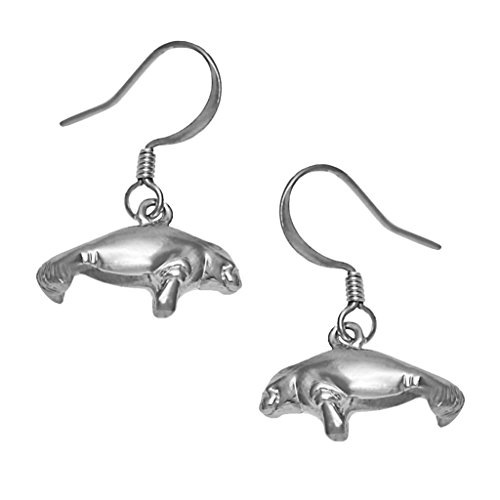 Manatee Earrings Petite SilverTone by Cape Cod (Cape Cod Jewelry Collection)