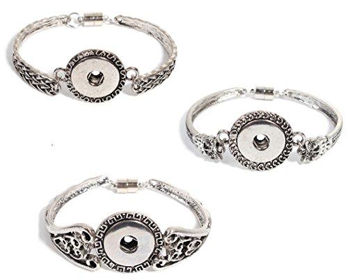 Filigree Heart Key (Snap Button Bracelets, 3 Pack - Hearts, Greek Key, Filigree Look)