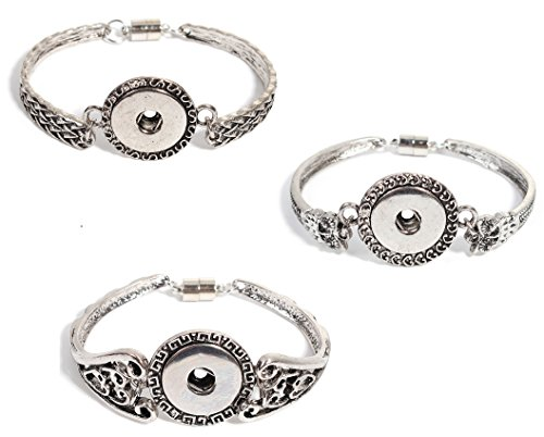 JGFinds Snap Button Bracelets, 3 Pack - Hearts, Greek Key, Filigree ()