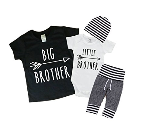 Big Brother/Little Brother Shirt/Bodysuit and Pants Set Little Man Outfit. Matching Brother Set 0-3 Mo/3T