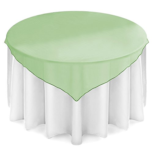 Lann's Linens 72 inch Square Organza Tablecloth Overlay - Wedding Banquet Party Decoration - Hunter Green