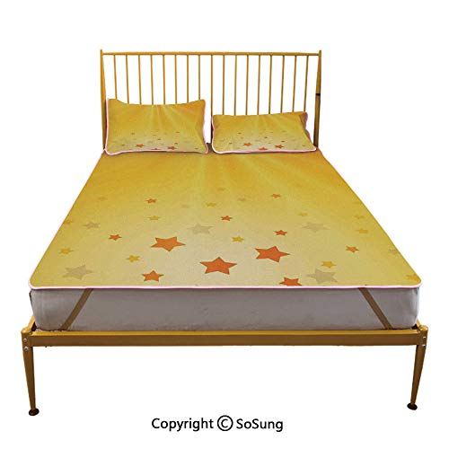 Yellow Creative Queen Size Summer Cool Mat,Reflection of Rising Sun with Various Star Images Sky Home Decoration Decorative Sleeping & Play Cool Mat,Orange Yellow