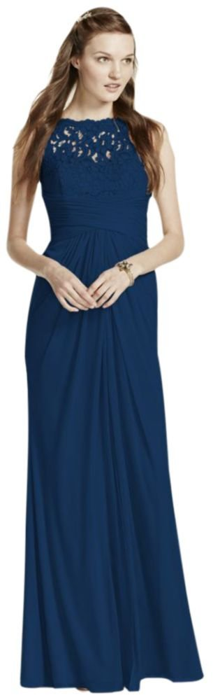 Sleeveless Long Mesh Bridesmaid Dress with Corded Lace Style F15749, Marine, 2
