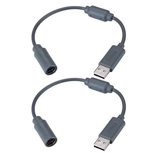 2 Pack Replacement Dongle USB Breakaway Cable for Xbox 360 Wired Controllers - Dark Grey (Xbox 360 Gray Controller)