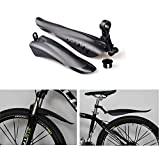 Star-Art Adjustable Road Mountain Bike Bicycle Cycling Tire Front/Rear Mud Guards Mudguard Fenders Set (Black)