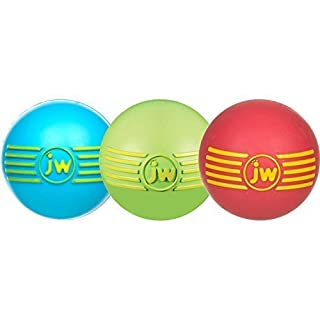 JW Pet Company iSqueak Ball Rubber Dog Toy, Medium, Colors Vary (3 Pack)