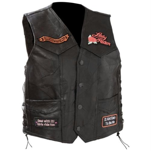 - Diamond Plate Ladies Rock Design Genuine Leather Vest- Xl