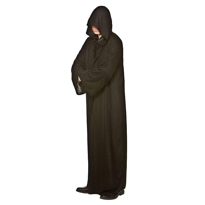 Larga para hombre con capucha Negro del traje de Halloween ...