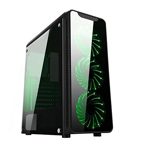 Noua CS1217 Case ATX Middle Tower per PC con 3 Ventole Led Verde
