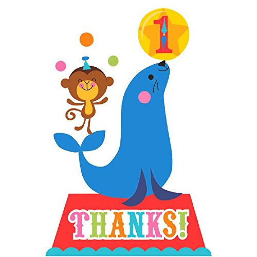 Fisher Price Circus 1st Birthday Thank You Cards Party Supply, Paper, 4