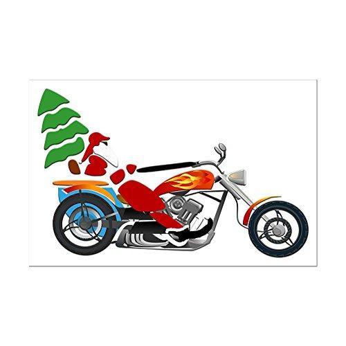 Mini Poster Print Holiday Biker Santa on his Motorcycle/Chopper
