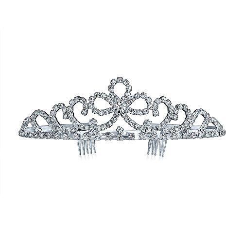 Princess Tiara With Bows (Bling Jewelry Bow Rhinestone Tiara Bridal Crown Headpiece Silver Plated)