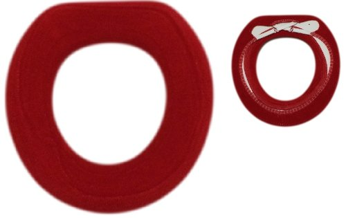 2 Pcs - Washable Toilet Seat Cover with Sturdy Crisscross Straps (2, Red)