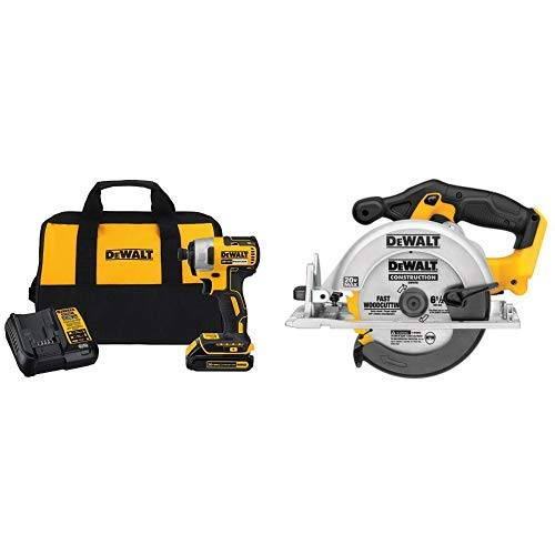 DEWALT DCF787C1 Cordless Impact Driver Kit (Includes Battery and Charger) with DCS391B 20-Volt MAX Li-Ion Circular Saw  (Tool Only)