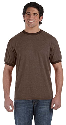 Brown Ringer Mens (Authentic Pigment 6 oz. Direct-Dyed Heather Ringer T-Shirt, Medium, JAVA)