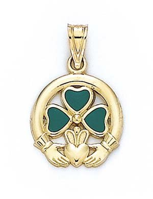 Émail or 14 ct Claddagh Pendentif - 16
