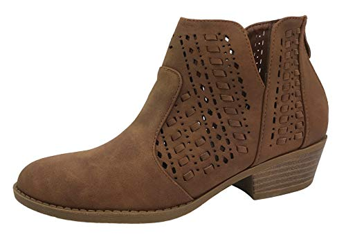 (Top Moda Women's Ankle Bootie Perforated Side V Cut Low Chunky Stacked Heel, Tan, 6)